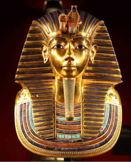 Tutankhamun's death mask contains the same blue glass that was found recently in Danish graves