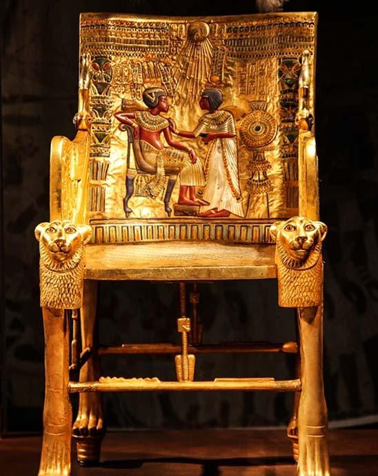 Tutankhamun's throne from his burial chamber.