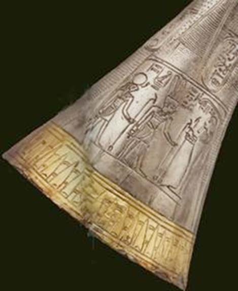 Detail of Tut's silver trumpet.