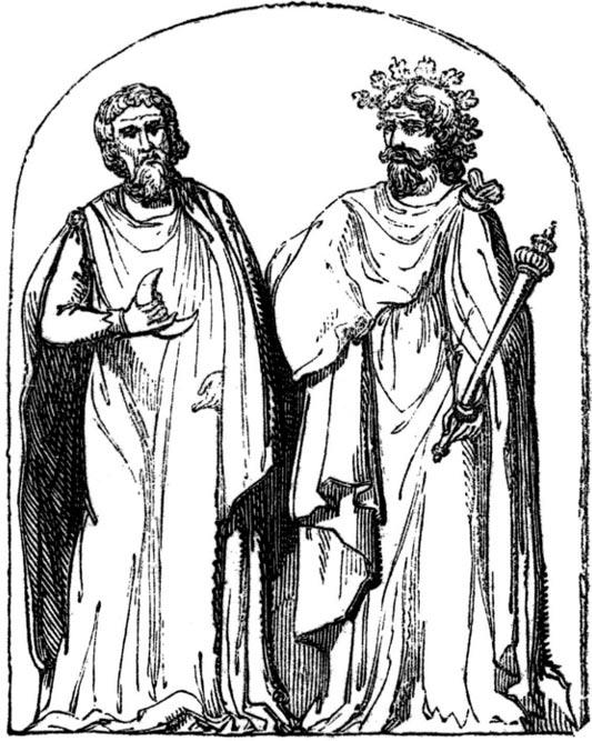 """Two Druids"", 19th-century engraving based on a 1719 illustration by Bernard de Montfaucon."