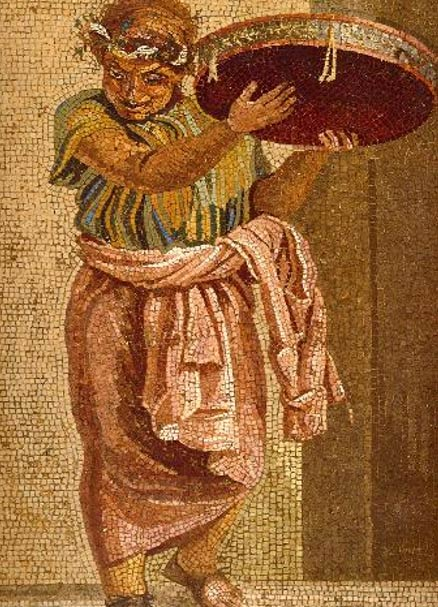 Tympanum player from a mosaic depicting a musical group.
