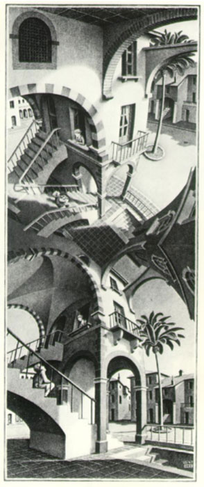 M.C. Escher 'Up and Down' or 'Above and Below'.
