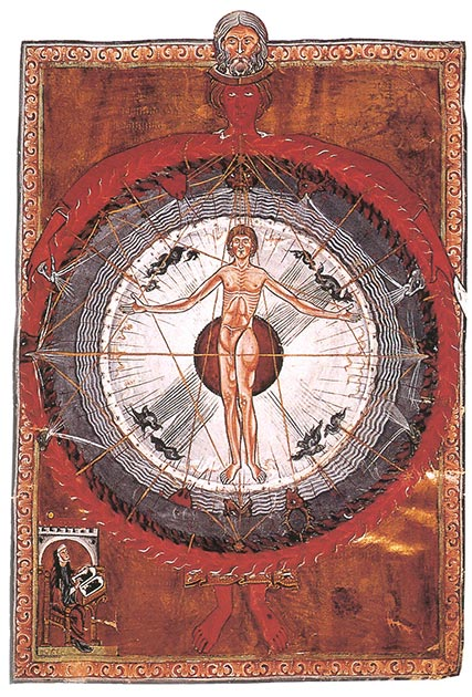 """Universal Man"" illumination from Hildegard of Bingen's Liber Divinorum Operum, I.2. Lucca, MS 1942, early 13th century copy. (Tsui / Public Domain)"