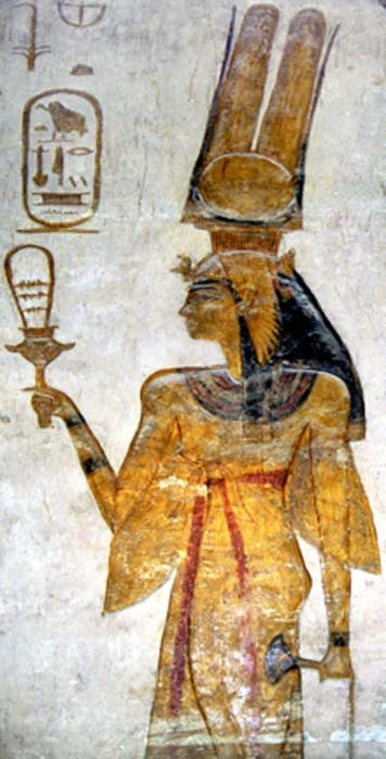 Nefertari, wife of Ramesses II, holding a sistrum at Abu Simbel. (Public Domain)