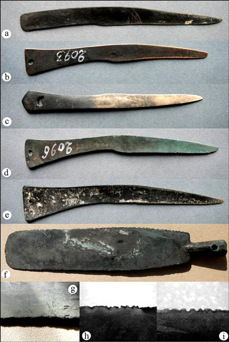 Examples of Tagar bronze knife stored in Minusinsky local history museum, which are believed to have been used in ancient surgeries