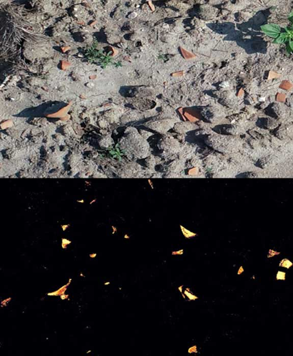 Upper image showing a drone-acquired image of the ground. Lower image showing the sherds detected by the machine learning algorithm. (Arnau Garcia-Molsosa and Hector A. Orengo)