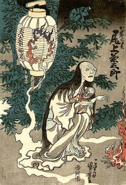 Utagawa Kuniyoshi's depiction of Oiwa coming out of a lantern.