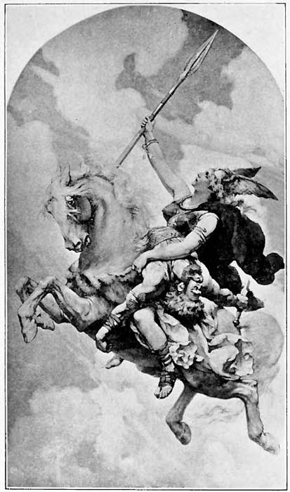 A Valkyrie bearing a Hero to Valhalla. White supremacists and Odinists say that only white people can enter Valhalla.