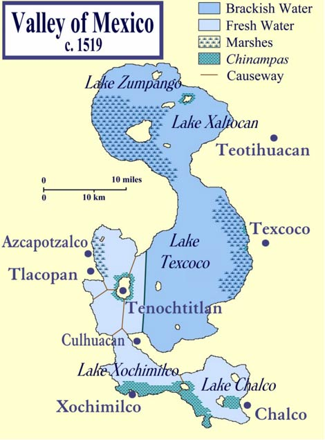 The Valley of Mexico at the time of the Spanish conquest, showing Texcoco in relation to Tenochtitlan and other cities in the Valley of Mexico.