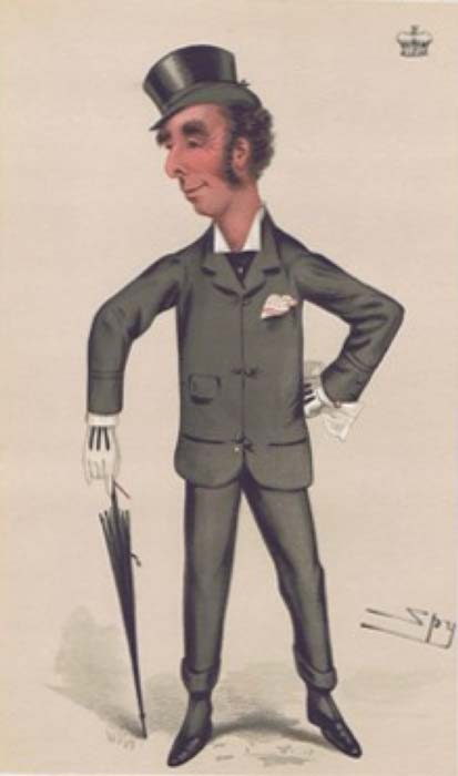 "1877 'Vanity Fair' caricature of the 9th Marquess of Queensberry. The caption reads ""A good light weight."" (Public Domain)"