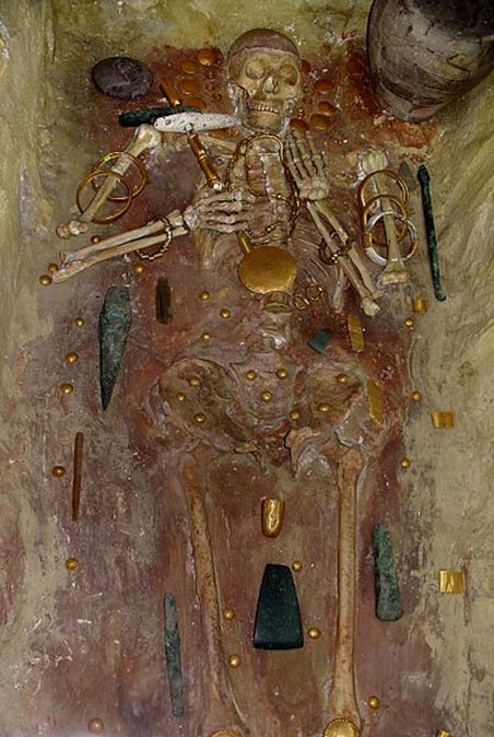 A tomb from the Varna necropolis in Bulgaria (circa 4600 BC) contains the world's oldest gold jewelry discovered to date.