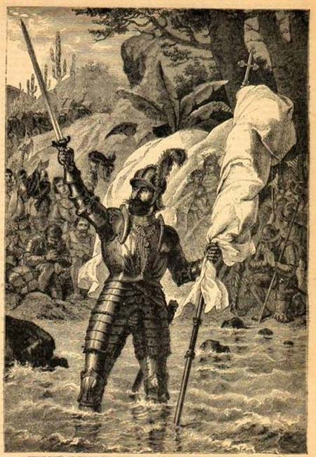 Vasco Núñez de Balboa claiming possession of the South Sea.