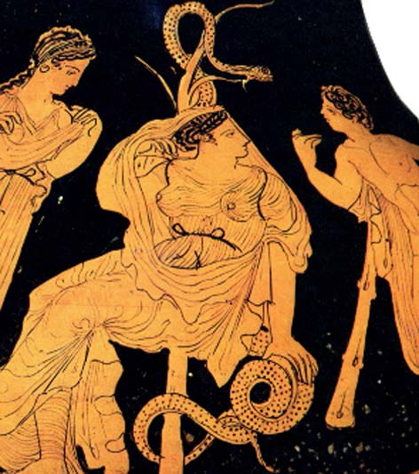 Vase from about 400 BC showing Nimrod/Herakles talking to one of the Hesperides as she sits in front of the serpent-entwined tree. (Author provided)