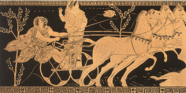Vase painting of Pelops escaping with Hippodamia