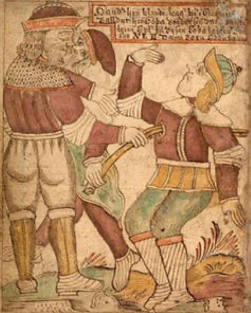 18th century Icelandic illustration showing Baldur being killed by his blind brother Hod. Jakob Sigurðsson