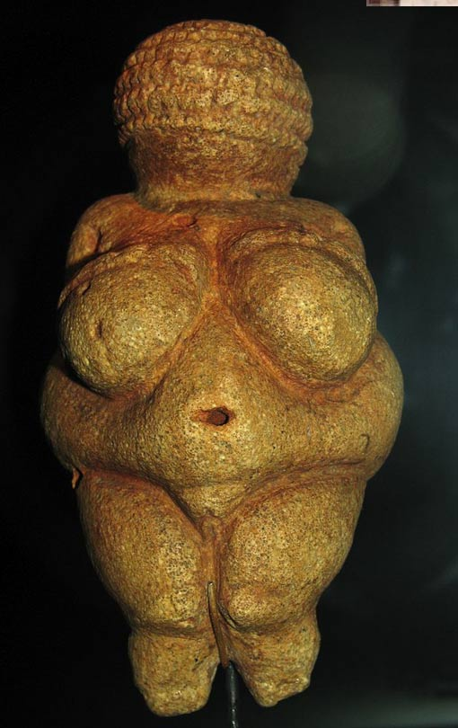 The Venus of Willendorf, statuette found in Austria, thought to have been made 28,000 and 25,000 BCE.