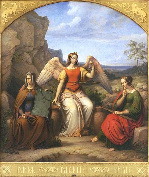 The norns of Norse mythology (Urd, Verdande and Skuld) by J.L. Lund.