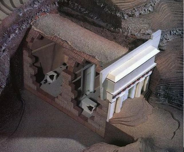 Model of tomb found at Vergina, Greece.