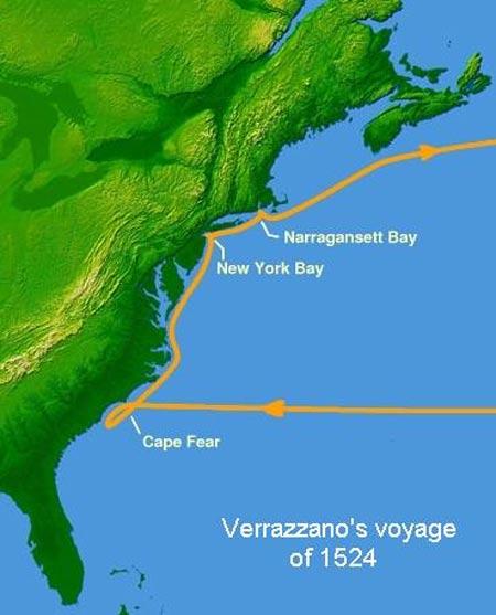 Verrazzano's voyage in 1524.