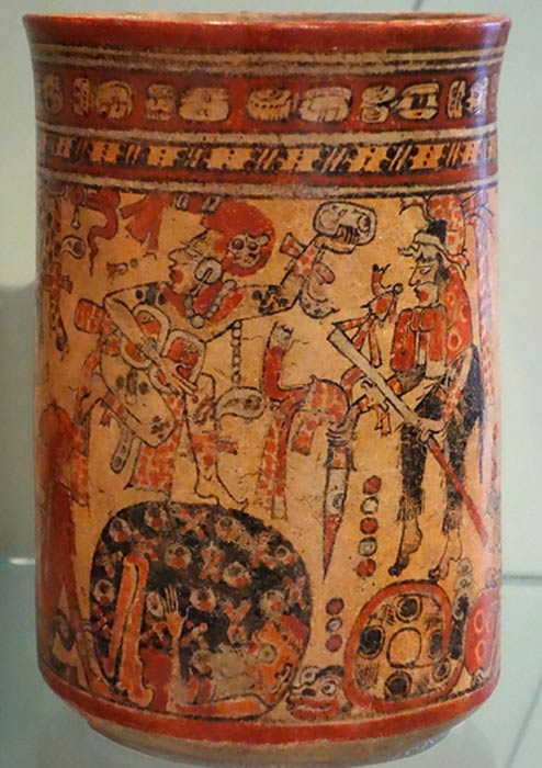 Vessel depicting deities in the court of Xibalba