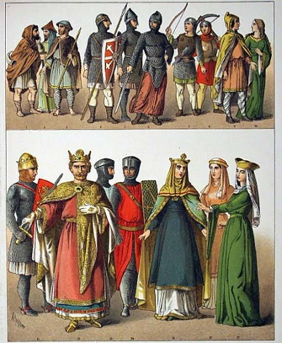 Victorian interpretation of the Normans' national dress, 1000–1100. (Public Domain)