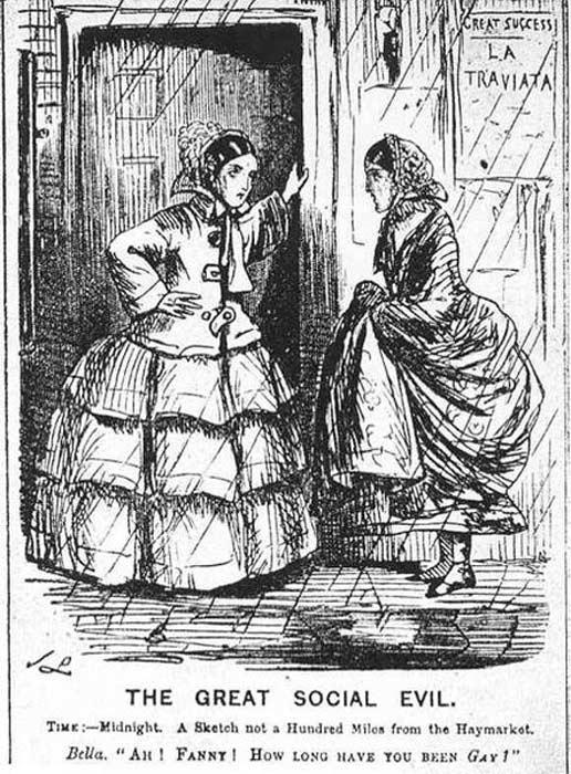 Illustration of Victorian prostitutes.