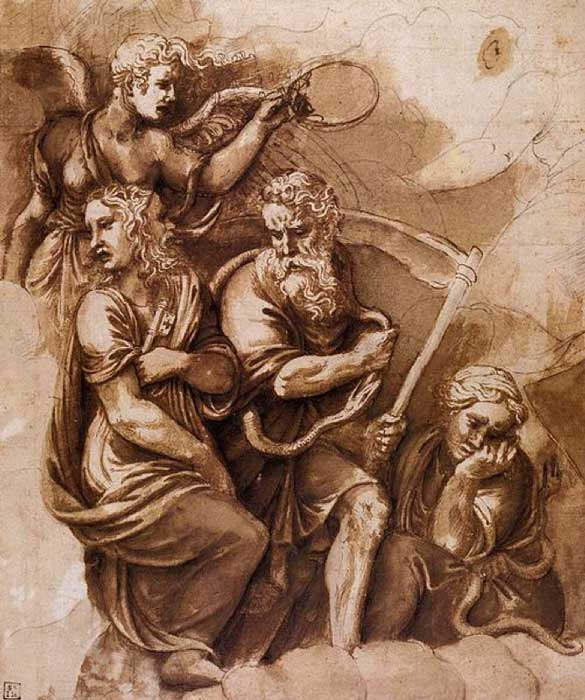 'Victory, Janus, Chronos, and Gaea' (1532-1534) by Giulio Romano. (Public Domain)