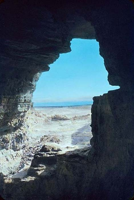 View of the Dead Sea from a Cave at Qumran.