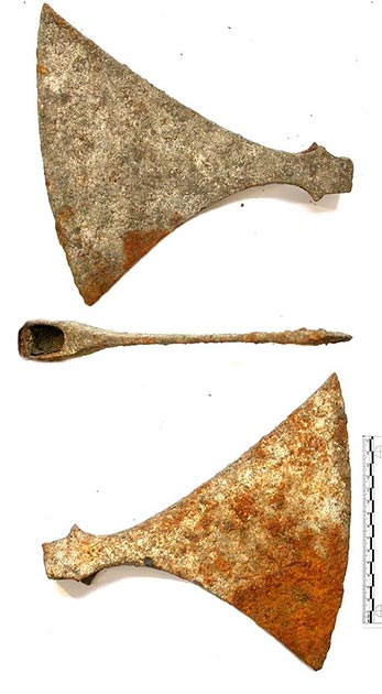Viking ax head, representation of the find at the Viking burial site in Norway. (British Museum / CC BY-SA 2.0)
