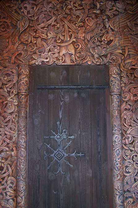 'Viking Long house door. Norway, Epcot Center.'
