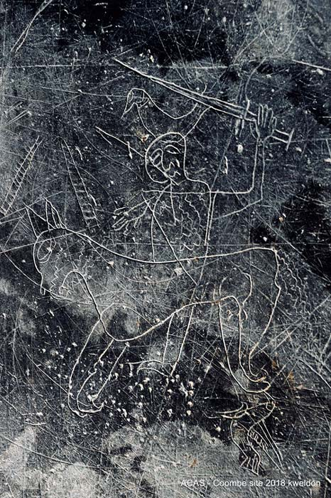 Viking 'graffiti' etched on slate of man riding a horse found at Dean Sty, Dublin. Image: Aisling Collins Archaeology Services
