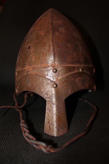 The way many Viking helmets actually looked, with the band around the head to which the other parts are attached and the nosepiece.