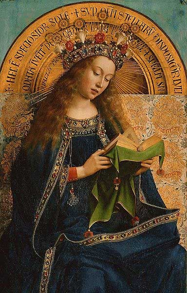 "The Virgin Mary from the Ghent Altarpiece – called ""The adoration of the lamb"" (1432) by Jan van Eyck."
