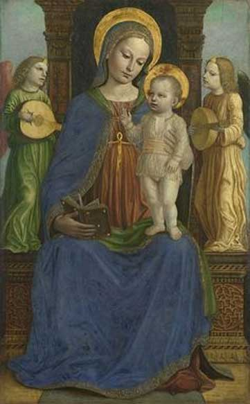 Bernardino Bergognone, Virgin and Child with Two Angels, 1490-95, oil on panel.