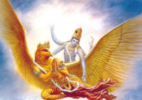 Hindu god Vishnu with the Garuda