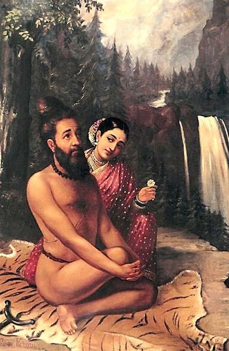 Vishwamitra and Menaka (1890) by Raja Ravi Varma. (Public Domain)