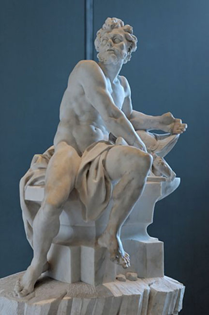 Vulcan. Marble, reception piece by Guillaume Coustou the Younger for the French Royal Academy, 1742. (Public Domain) Hephaestus' Roman name is Vulcan.