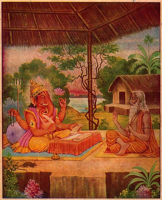 Vyasa and Ganesha writing the Mahabharata. (Public Domain)