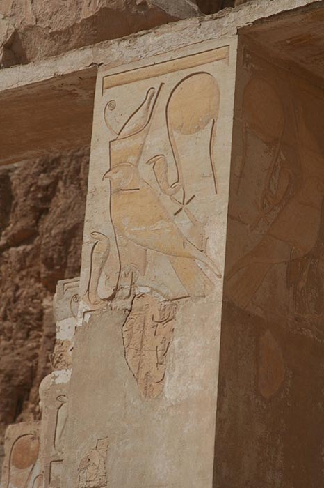 Two images of Wadjet appear on this carved wall in the Hatshepsut Temple at Luxor.