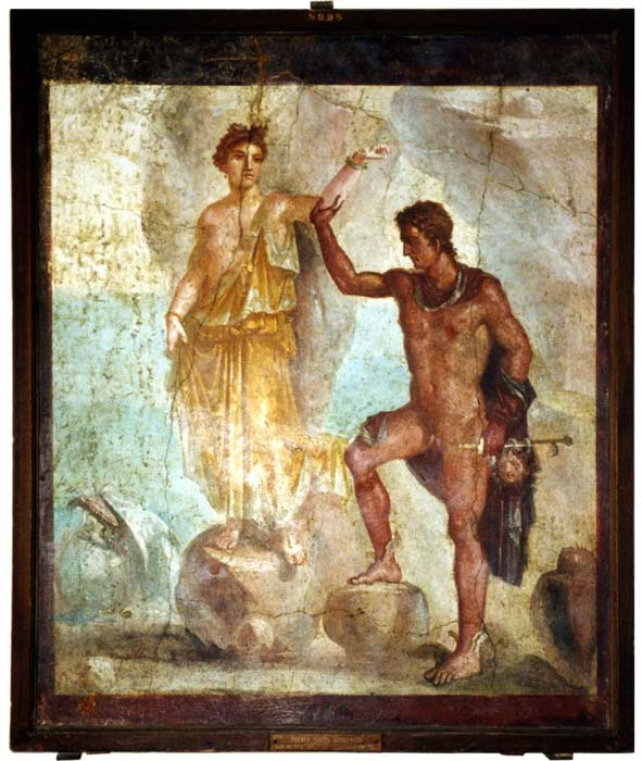 Wall painting from Pompeii, representing Perseus rescuing Andromeda. (CC BY SA 2.5)