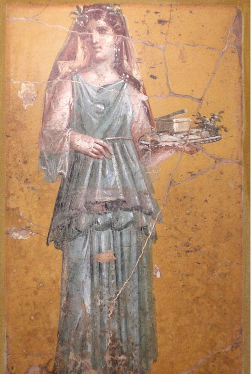 In ancient Rome, pale skin was considered the most beautiful. Wall painting from the Vila San Marco, Stabiae
