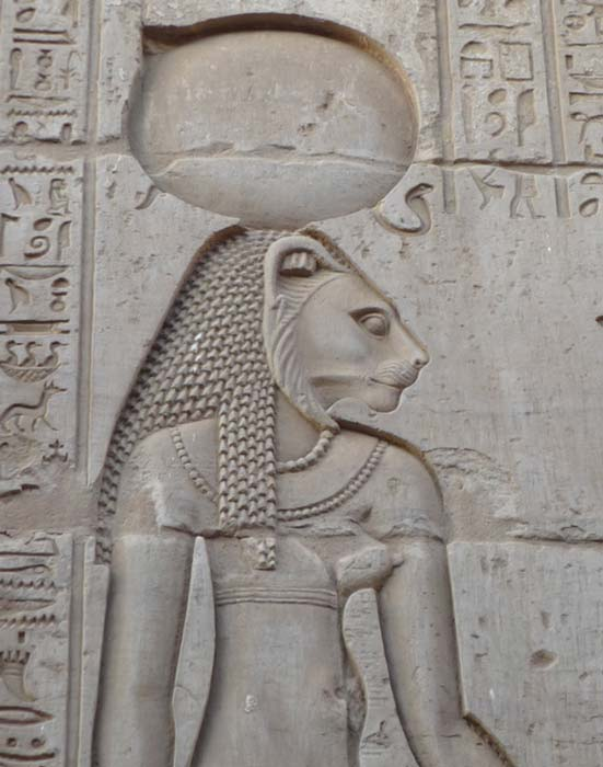 Wall relief of Sekhmet, Kom Ombo Temple, Egypt