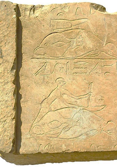 Wall scene depicting the deceased during hunting trip.
