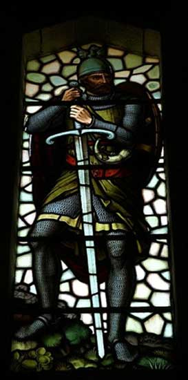 Wallace Monument, Stirling, Scotland - stained glass window, William Wallace.