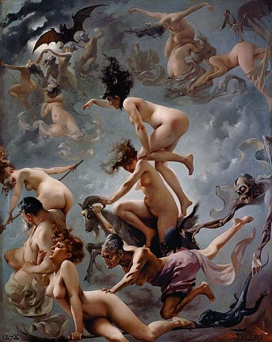 """Walpurgisnacht. Der Aufbruch der Hexen"" (Walpurgis Night. The Departure of the Witches) (1878) by Luis Ricardo Falero. (Public Domain)"