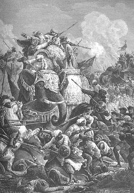 War elephants in battle during the Carnatic Wars by Paul Philipoteaux.
