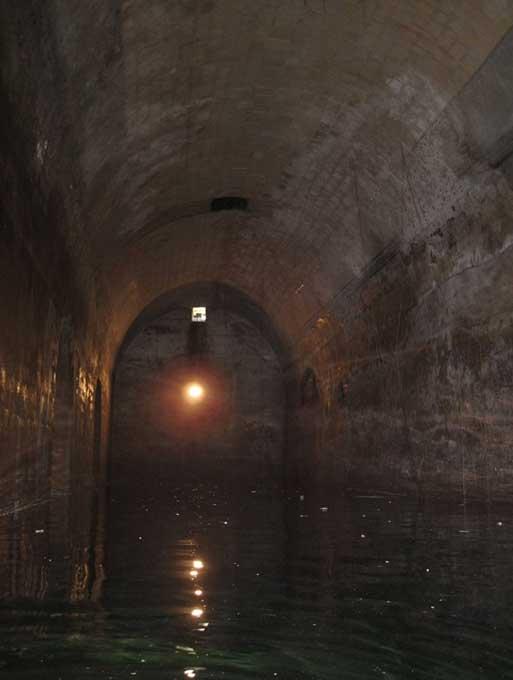 Water inside one of the tunnels under Valetta, Malta