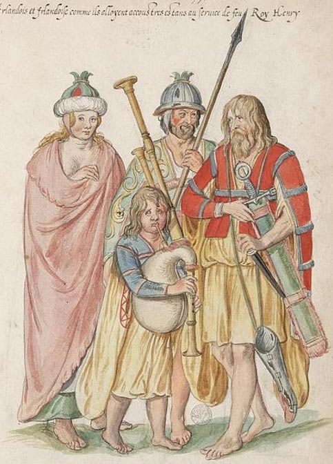 Watercolor painting entitled 'Irish as they stand accoutred being at the service of the late King Henry' (c.1575) by Lucas de Heere.