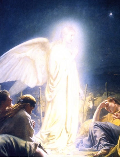 """Who were the Shining Ones? """"The Shepherds and the angel"""" (1879) by Carl Bloch."""