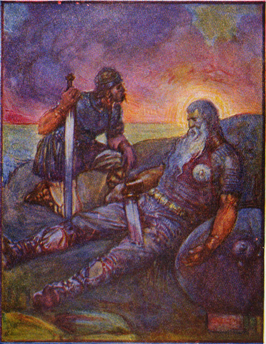 Wiglaf speaking to Beowulf after his battle with the dragon